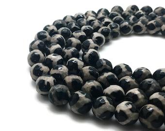6mm Natural Tibetan Agate Dzi Beads Faceted White Black Round 6mm Agate Dzi 6mm Beads Dzi Beads Tibetan Beads Faceted Gemstone Faceted Mala