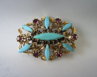 On Sale Vintage Pin/ Made In Austria Turquoise Rhinestone / Brooch Purple Green Pin