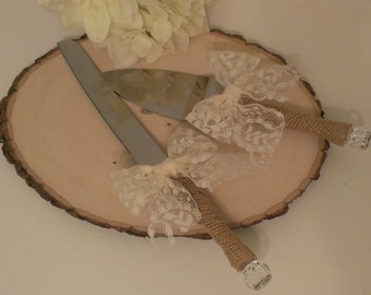 rustic cake knife, burlap and lace wedding cake set, shabby chic wedding set, ivory lace(K108)