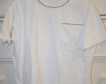 Vintage White Tee with Beaded Detailing