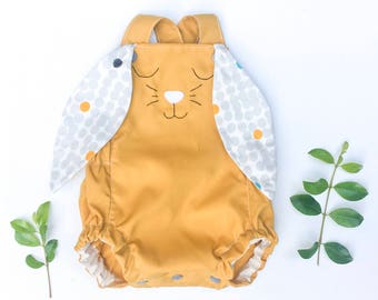 Mustard Easter Bunny Romper, baby wear, baby shower gift, babys first Easter