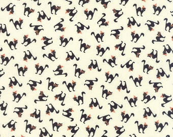 Black Cat Halloween Fabric - Spooky Delights by Bunny Hill Designs from Moda - 1 Yard