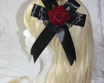 Hair Jewellery-lolita [red rose]-hair clip-pin brooch