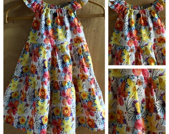 Flowered  Peasant Style Cotton Sundress, girls size 6
