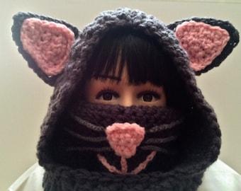 Cat Cowl Hoodie, Crochet Cowl Hoodie, Girls Cowl Hoodie, Girls Accessories