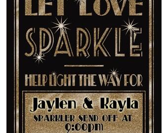 Sparkler Send Off Sign   PRINTABLE Let love Sparkle sign, 1920's wedding sign, Black gold wedding sign, Wedding Sparklers, DIY Wedding Sign