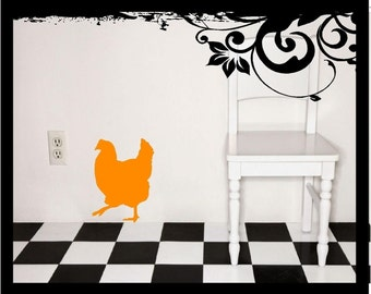 Walking Hen Silhouette - Vinyl Decal