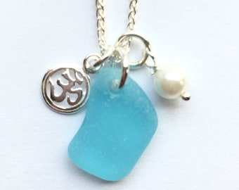 SS Seaglass Necklace OM necklace SS Yoga Necklace Seaglass Jewelry Beach Glass Jewelry Handmade, Custom Jewelry