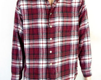 vtg 90s J.Crew Red/White Flannel Plaid Shirt Button Down GRUNGE sz M