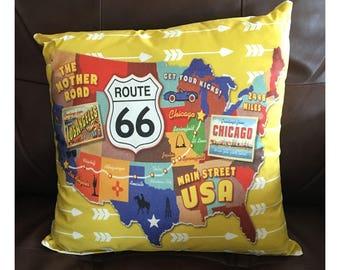 Route 66 Throw Pillow