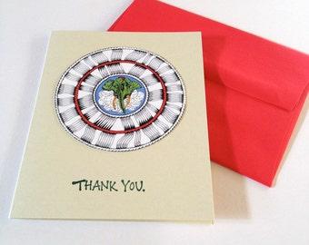 Thank You Cards - Ganesh - Original Mandala - Handmade Stamped Card