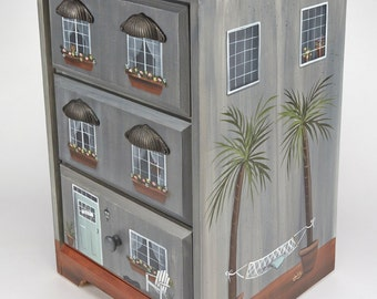 Gray Townhouse/ Beach house/ End Table/ Nightstand/ Hand Painted Furniture/ Beach decor/ Cityscape decor/ Palm tree Furniture