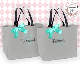 8 Personalized Bridesmaid Gift Tote Bag- Bridesmaid Gift- Personalized Bridemaid Tote - Wedding Party Gift - Name Tote-