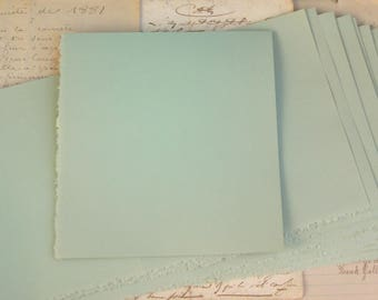 Vintage Faded Soft Green Laid Texture Paper Stationery Deckled Edge Scored Long Sheets (12)