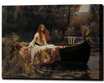 John William Waterhouse The Lady of Shalott Knights & Maidens Canvas Print Home Decor Reproduction Interior Design Ready to Hang