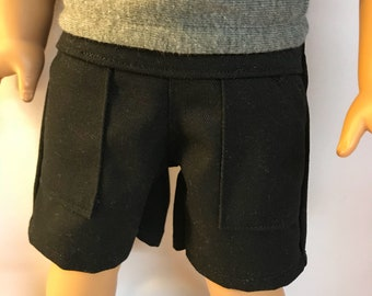 Black Cargo Shorts 18 inch boy doll clothes