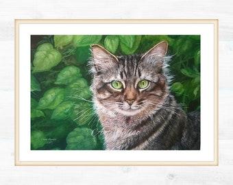 Custom portrait of tiger cat. Measure 29x42 cm