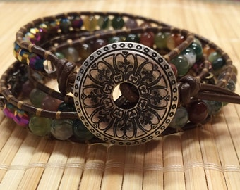 Beaded Gemstone Wrap Bracelet Brown Leather Bohemian Style Boho Jewelry - Beads Wrap Three Times Gift for Mom Mother Teacher Gift Girlfriend