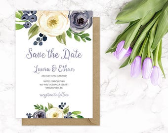 Purple Floral Save the Date Card, Purple Wedding Save the Date Cards, Plum Floral Wedding Save the Date, Custom Floral Save the Date Cards