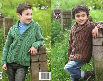 King Cole Knitting Pattern 3720~Cabled Sweater & Cardigan~Aran~22-28""