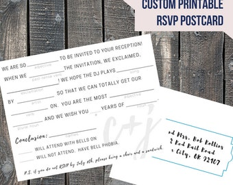 Printable Mad Libs Wedding RSVP Postcard / Fill In The Blank / Funny / Custom / 5.5x4.25 / Double Sided / Popular