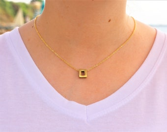 Gold Plated,  rectangle necklace, 1 pcs