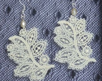 White Baroque Lace Earrings