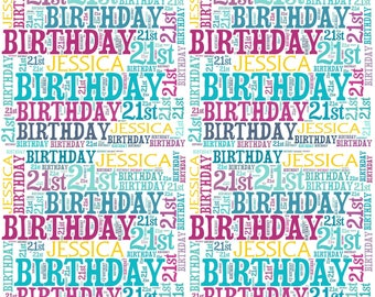 Personalised Birthday Wrapping Paper 21st Gift Wrap With Own Name Wordart