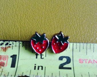 1980s Strawberry Enamel Stud Earrings
