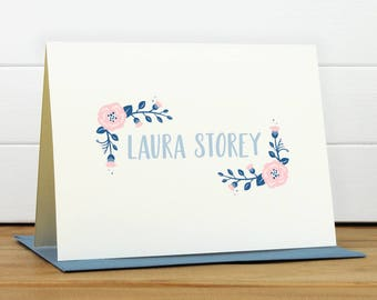 POSIE [BLUSH COLORWAY] Personalized Stationery Set - Personalized Stationary Set - Custom Personalized Notecard Set - Flower Floral Pretty