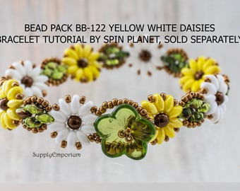 Yellow White Daisies Bead Pack BB-122 - Tutorial By SpinPlanet Sold Separately - Beaded Bracelet Bead Pack BB122 Yellow White Daisies