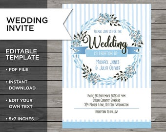 Editable Wedding Invitation, Editable Wedding Invitation Template, Custom Wedding Invitation, Editable Invitation Template, Editable Invite
