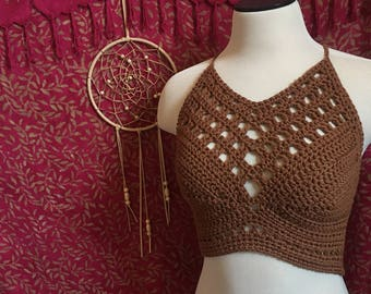 Ready to ship**** burnt brown crochet croptop