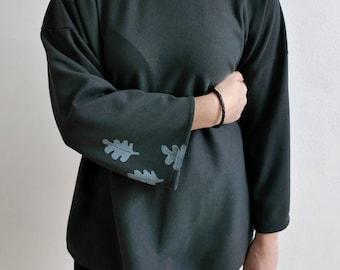 Grey/blue cotton sweatshirt-handmade stamp prints-oak leaf