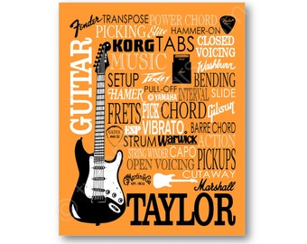 Guitar Poster Typography, Guitar Player Gift, Guitar Art, Guitar Gift, Custom Guitar Art, Gift for Guitar Player, Personalized Guitar Canvas