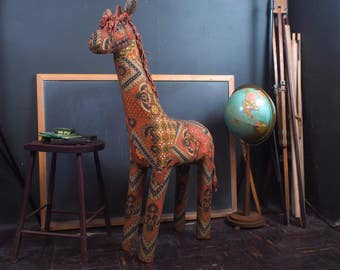 Amazing 4ft Mid Century Fabric Coverd Giraffe