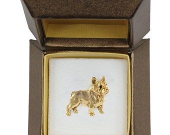 NEW, French Bulldog, dog pin, in casket, gold plated, limited edition, ArtDog