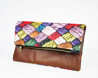CHRISTMAS SALE!!! Fun fold over leather clutch purse | Brown leather and wool patterned fabric clutch