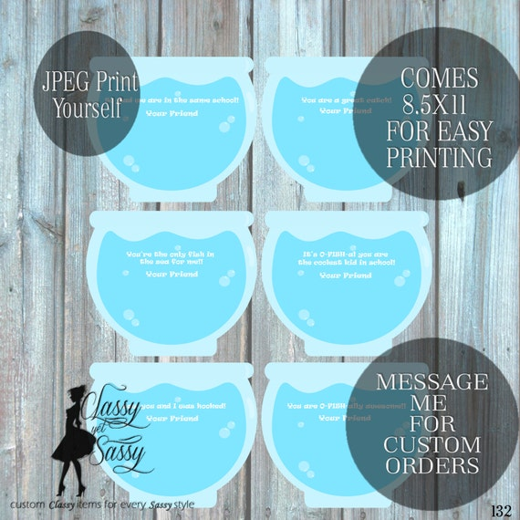 Fish Bowl Valentine DIY printable, Gold Fish Valentine Card-132
