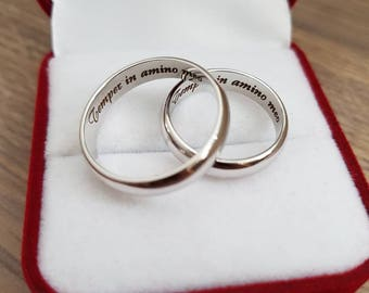 Engraved Ring, Personalized Ring, Custom Ring, Initial Ring, Stainless Steel Ring, Mens Ring, Womens Ring, Gift for Her, Gift for Him
