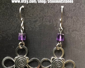 Handmade Hammered Stainless Steel Florete and Amethyst Cube Earrings