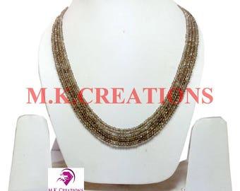 30% Off, Natural Smoky Quartz Beads 4 Strand Necklace, Multistrand Necklace, Beaded Layered Necklace, Statement Necklace, Christmas Gift