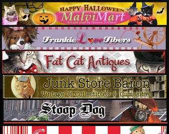 Custom Etsy Shop Banner  with your pets picture includes banner and avatar