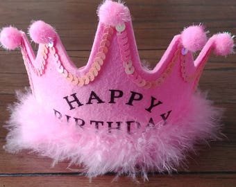 Happy Birthday Headband Crown with Fur ~ For ages 5+ Hot Pink
