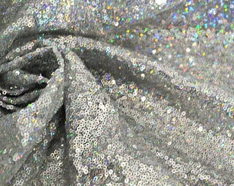 Silver Iridescent Sequin Fabric By the Yard,Holographic Silver Micro Sequin Fabric, Glitters Multi Color Sequins on Mesh Fabric,  -SQSI