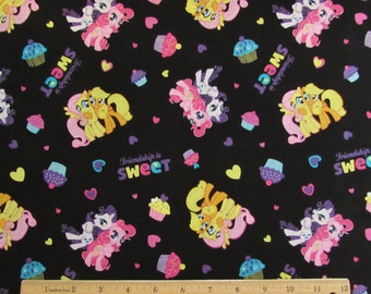 Per Yard, My Little Pony Toss Fabric Black Background From Springs Creative