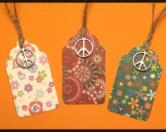 """Tags """"Happy Hippie"""" - Handmade Gift Tags, Gift Tags, Peace Gift Tags, Hippy Tags, Hippie Tags, Favor Tags, Holiday Gift Tags, Peace, Love"""