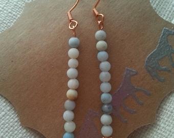 Amazonite and copper dangle earrings