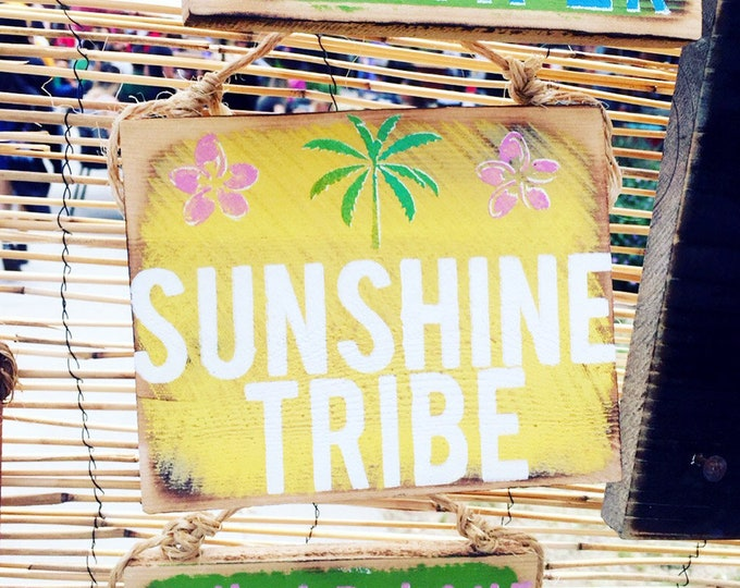 Sunshine Tribe Sign /  Cactus Decor / Dorm Room Decor/ Sea Gypsy California / Surf Sign / Surf Art / Sea Gypsy Signs / Good Vibes Sign