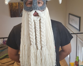 Crochet pattern for viking hat helmet with beard